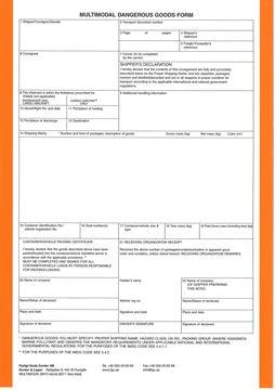 Bild på Multimodal Dangerous Goods Form / Lösblad
