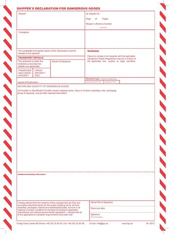 Bild på Shippers Declaration för datorutskrift / Lösblad