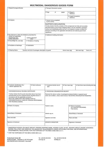 Bild på Multimodal Dangerous Goods Form / Block